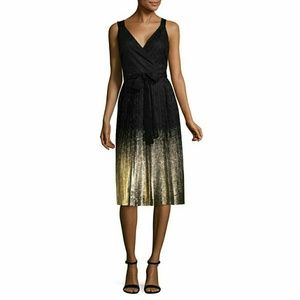 Black Lace Ombre Gold Foil Party Dress